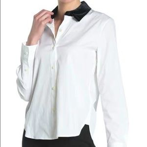 Theory removable collar cotton shirt white